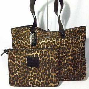 Coach Nylon Weekender Tote Shoulder Travel Leopard